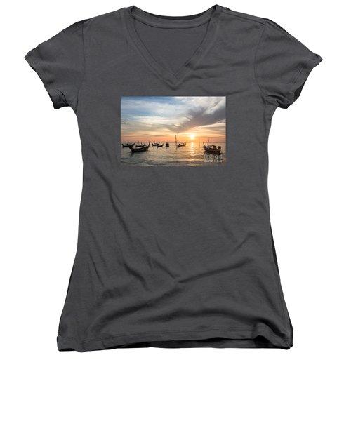 Stunning Sunset Over Wooden Boats In Koh Lanta In Thailand Women's V-Neck T-Shirt