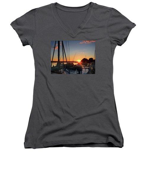 Sturgeon Bay Sunset Women's V-Neck T-Shirt (Junior Cut) by Rod Seel