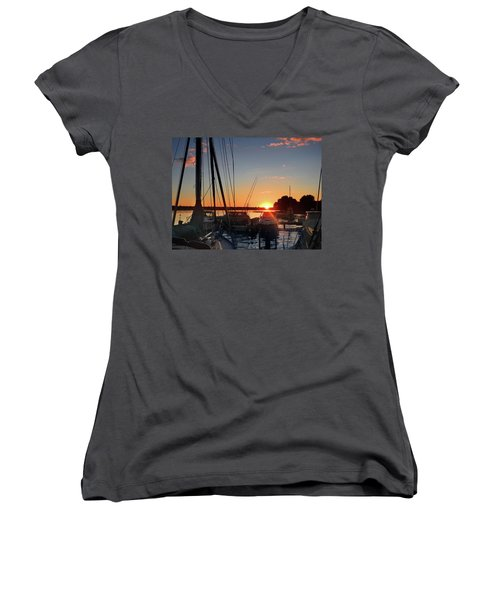 Sturgeon Bay Sunset Women's V-Neck (Athletic Fit)