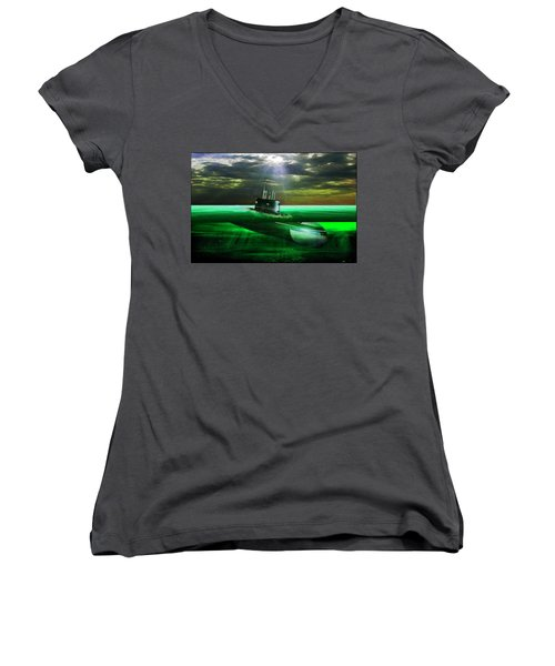Women's V-Neck T-Shirt (Junior Cut) featuring the painting Submarine by Michael Cleere