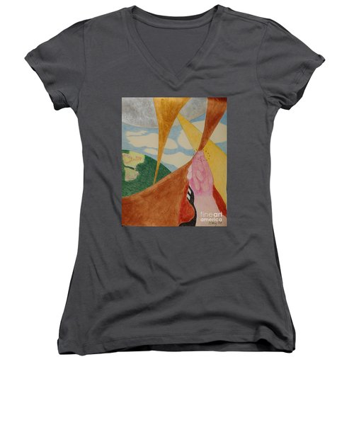 Women's V-Neck T-Shirt featuring the drawing Subteranian  by Rod Ismay