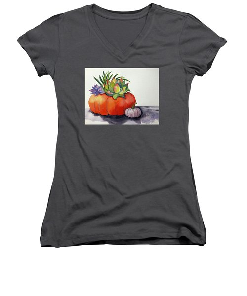 Succulents In Pumpkin Women's V-Neck