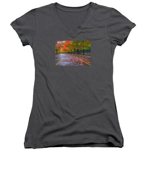 Women's V-Neck T-Shirt (Junior Cut) featuring the photograph Sugar Maple Drive by Ken Stanback