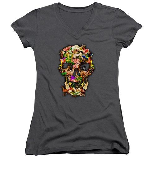 Sugar Skull Animal Kingdom Women's V-Neck T-Shirt (Junior Cut) by Three Second