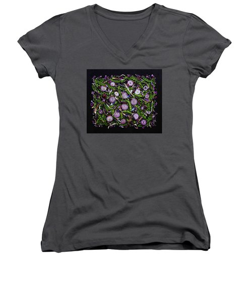 Sugar Snap Peas And Red Onion Mix Women's V-Neck