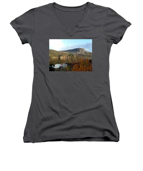 Sugarloaf Hill In Autumn Women's V-Neck T-Shirt (Junior Cut) by Barbara Griffin