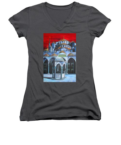 Sultan Ahmed Mosque Istanbul Women's V-Neck T-Shirt (Junior Cut)