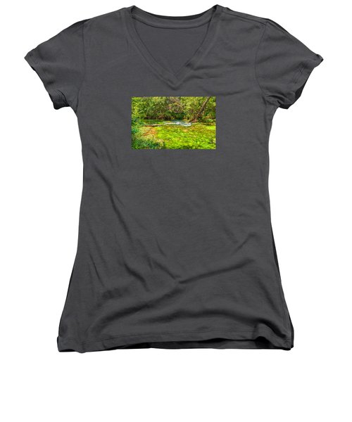 Women's V-Neck T-Shirt (Junior Cut) featuring the photograph Summer At Alley Springs by John M Bailey