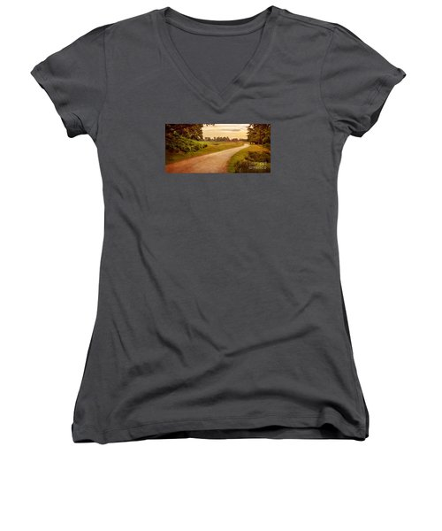 Women's V-Neck T-Shirt (Junior Cut) featuring the photograph Summer At Bradgate Park Leicestershire by Linsey Williams