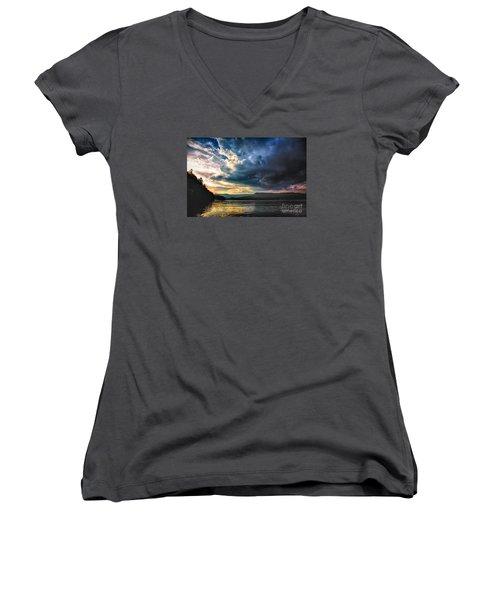 Summer At Lake James Women's V-Neck T-Shirt (Junior Cut) by Robert Loe