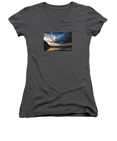 Summer At Lake James Women's V-Neck (Athletic Fit)