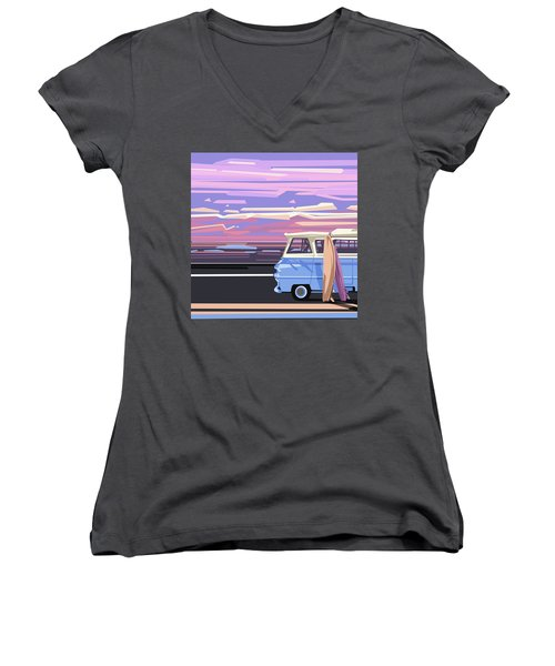 Summer Women's V-Neck T-Shirt (Junior Cut) by Bekim Art