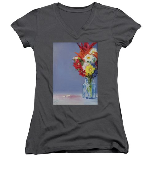 Women's V-Neck T-Shirt (Junior Cut) featuring the painting Summer Bouquet by Jane Autry