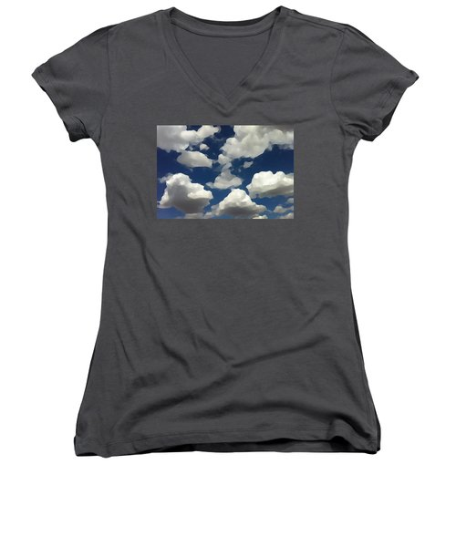 Women's V-Neck featuring the digital art Summer Clouds In A Blue Sky by Shelli Fitzpatrick
