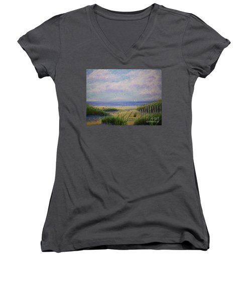 Summer Day At The Beach Women's V-Neck