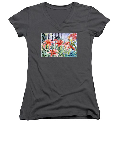 My Summer Day Liliies Women's V-Neck T-Shirt (Junior Cut) by Mindy Newman