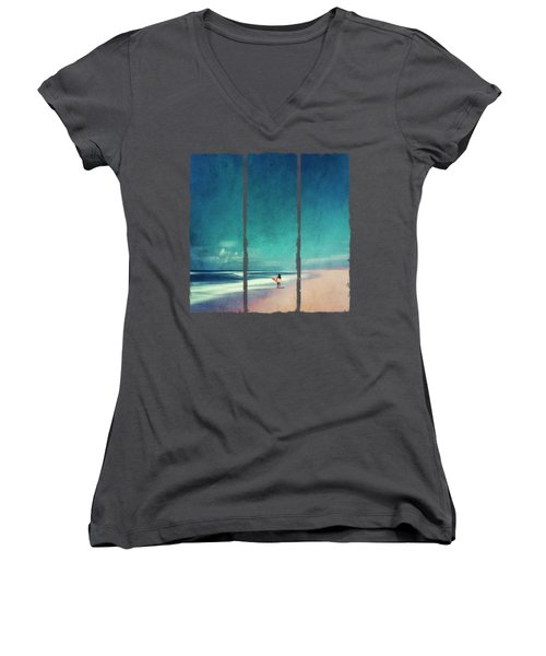 Summer Days - Abstract Seascape With Surfer Women's V-Neck (Athletic Fit)
