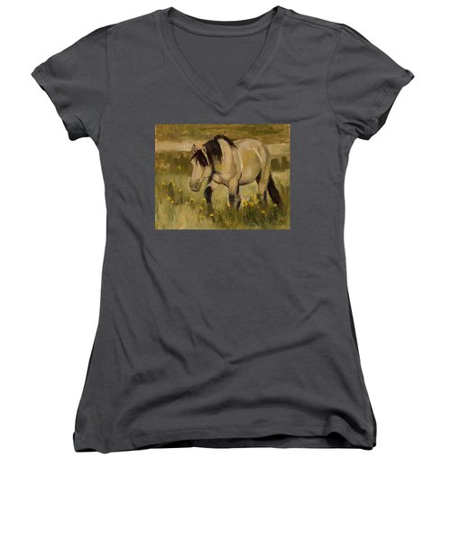 Women's V-Neck T-Shirt (Junior Cut) featuring the painting Summer Days by Billie Colson