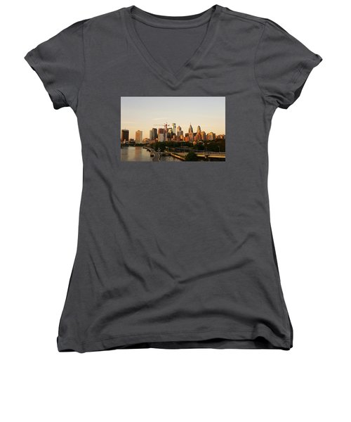 Summer Evening In Philadelphia Women's V-Neck T-Shirt