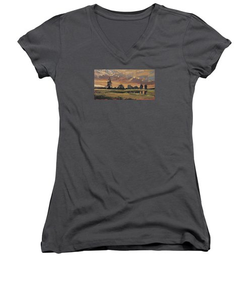 Women's V-Neck T-Shirt (Junior Cut) featuring the painting Summer Evening In The Polder by Nop Briex