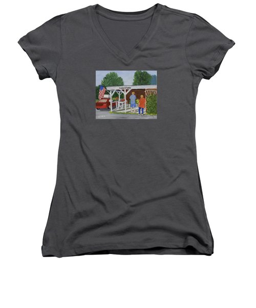 Summer Farm Stand Women's V-Neck (Athletic Fit)