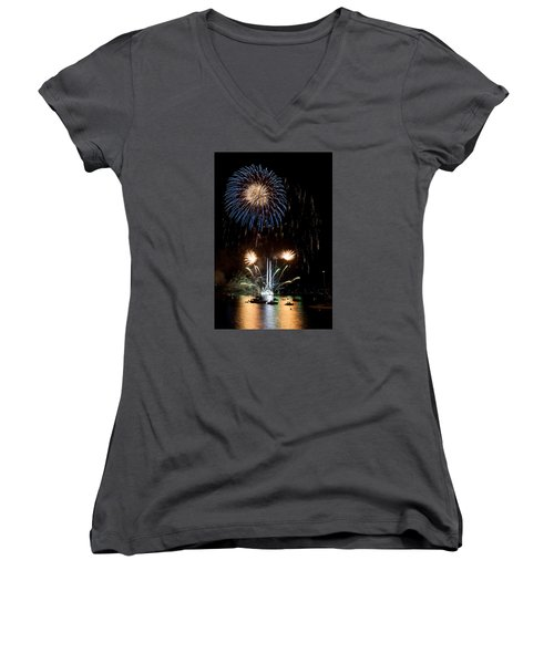 Summer Fireworks I Women's V-Neck T-Shirt (Junior Cut) by Helen Northcott