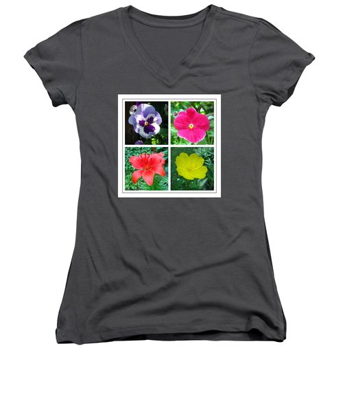 Summer Flowers Window Women's V-Neck T-Shirt (Junior Cut) by Maciek Froncisz