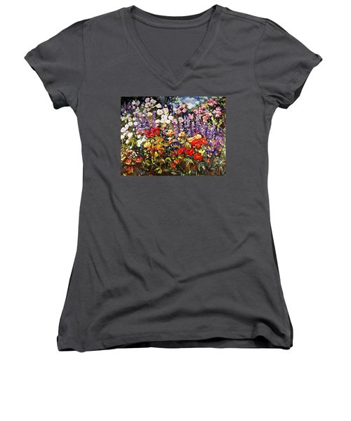 Summer Garden II Women's V-Neck T-Shirt (Junior Cut) by Alexandra Maria Ethlyn Cheshire
