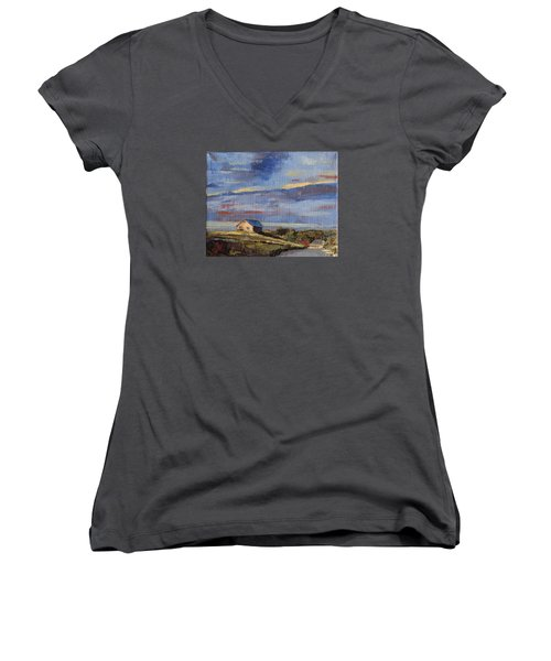 Summer Glow Women's V-Neck T-Shirt (Junior Cut) by Trina Teele
