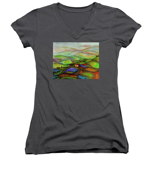Women's V-Neck T-Shirt (Junior Cut) featuring the painting Summer Hills by Rae Chichilnitsky
