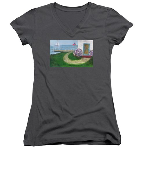Summer Home In Maine Women's V-Neck (Athletic Fit)
