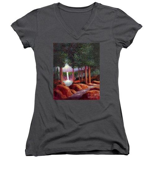 Summer In The Garden Of Eden Women's V-Neck T-Shirt (Junior Cut) by Randy Burns