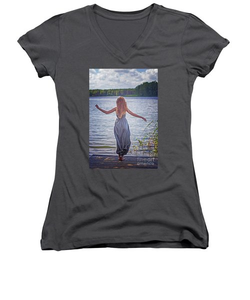 Summer In The Light And Winter In The Shade Women's V-Neck T-Shirt