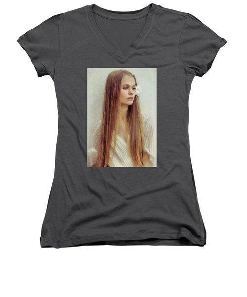 Summer Innocence Women's V-Neck T-Shirt (Junior Cut) by Gun Legler