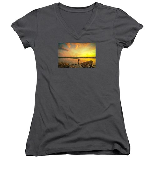 Women's V-Neck T-Shirt (Junior Cut) featuring the painting Summer Joy by Rose-Maries Pictures