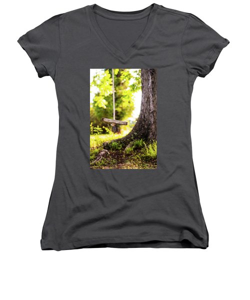 Women's V-Neck T-Shirt (Junior Cut) featuring the photograph Summer Memories On The Farm by Shelby Young