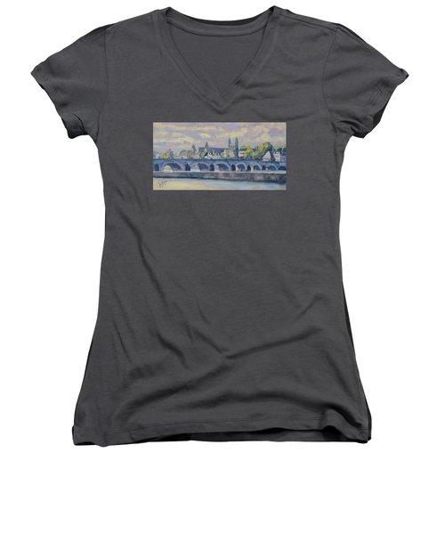 Summer Meuse Bridge, Maastricht Women's V-Neck T-Shirt