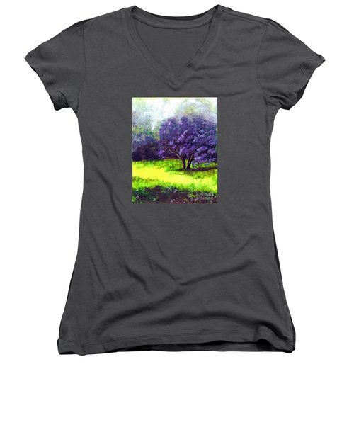 Women's V-Neck T-Shirt (Junior Cut) featuring the painting Summer Mist by Patricia Griffin Brett
