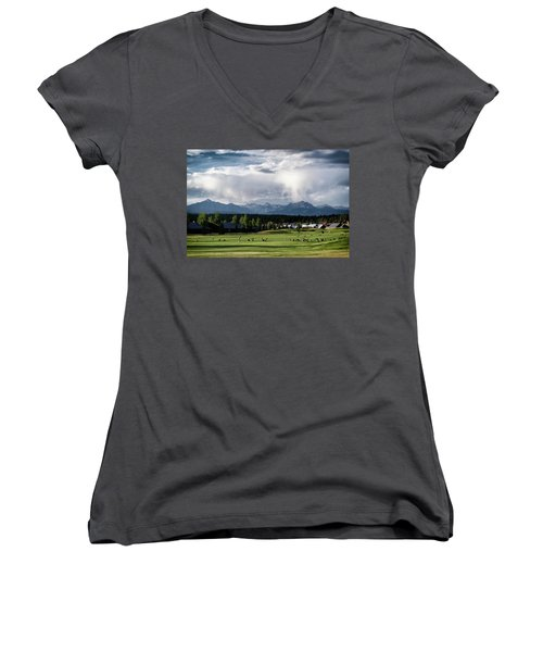 Summer Mountain Paradise Women's V-Neck (Athletic Fit)