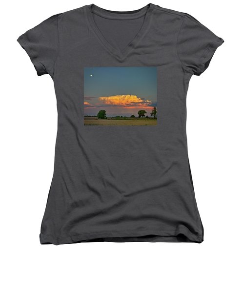 Women's V-Neck T-Shirt (Junior Cut) featuring the photograph Summer Night Storms Brewing And Moon Above by James BO Insogna