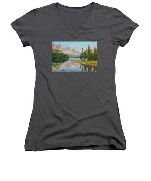 Summer Stillness Women's V-Neck T-Shirt (Junior Cut)