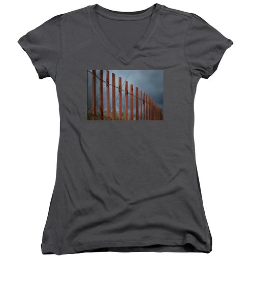 Women's V-Neck T-Shirt (Junior Cut) featuring the photograph Summer Storm Beach Fence by Laura Fasulo
