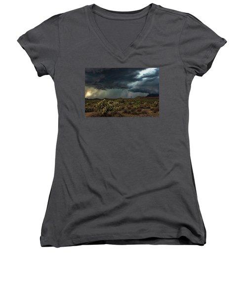Women's V-Neck T-Shirt featuring the photograph Summer Storm  by Saija Lehtonen
