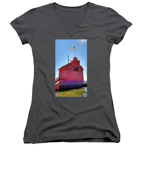 Women's V-Neck T-Shirt featuring the photograph Summer Sun And Big Red by Michelle Calkins
