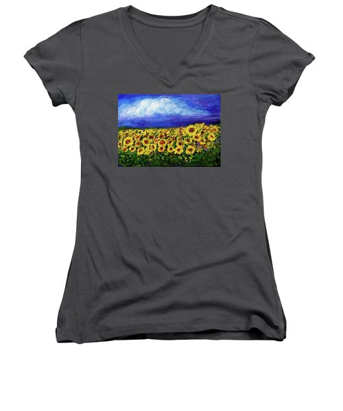 Women's V-Neck featuring the painting Summer Sunflowers by Asha Sudhaker Shenoy