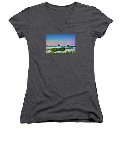 Summer Sunrise Women's V-Neck T-Shirt (Junior Cut) by Nadia Sanowar