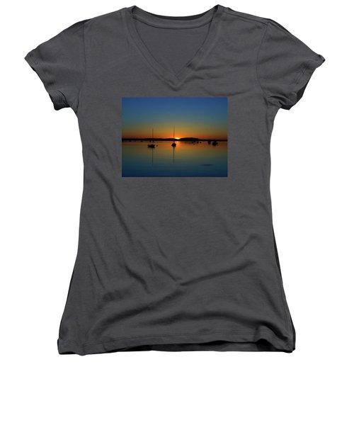 Summer Sunset Monument Beach Women's V-Neck