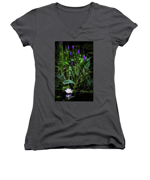Women's V-Neck T-Shirt (Junior Cut) featuring the photograph Summer Swamp 2017 by Bill Wakeley