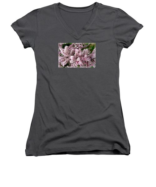 Women's V-Neck T-Shirt (Junior Cut) featuring the photograph Summer Tamarisk by Jean Bernard Roussilhe
