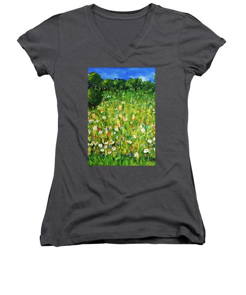 Women's V-Neck T-Shirt (Junior Cut) featuring the painting The Glade by Evelina Popilian